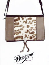 Brighton Tan & Brown Leather Cross Body Organizer Purse with a Fur Insert - New