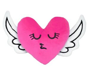 Plush Cushion Pink Heart with Wings Decorative Pillow Gift for Beloved Person