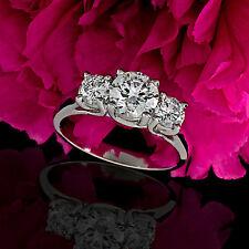 Three Stone 1.24 Carat Round Cut Natural Diamond Engagement Ring 14k White Gold