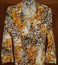 Cache SEXY Gold Sequin LEOPARD JUNGLE Snap Button BLOUSE SHIRT Large 12 14 NEW