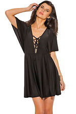 Abito Top Gonna scollo aperto lacci stringhe Kimono Mini Lace Up V Neck Dress M