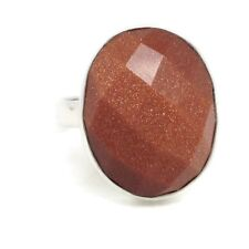 Goldstone faceted Oval Ring, UK Size R, Actual One. Solid Sterling Silver