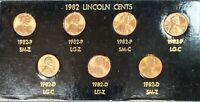 1982 Lincoln Cent 7 Coin Vaiety Set BU Quality, P&D, Zinc & Copper, Lg & Sm