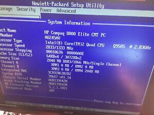 HP 8000 Elite CMT 1 x Q9505 2.83 Core2 Quad CPU 2Gb RAM DVD Drive Tower Case