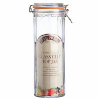 Kilner Clip Top 2.2L Glass Facetted Storage Jar Spaghetti Pasta Flour Rice NEW