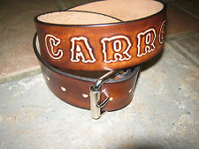 GENUINE LEATHER BELT CUSTOM MADE BROWN WITH NAME 1 3/4 WIDTH WITH YOUR NAME