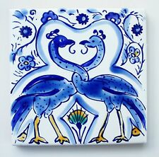 Mediterranean Spanish Ceramic Tiles - Love Birds 4x4""