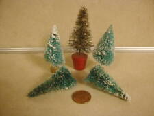 Christmas Miniature Bottle Brush Trees x 5 Decoration Mini Holiday Collectible!