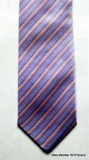 Corbateria española 100% Seda Tie Lila, Con Rayas Rosa Y Plateado Diagonal