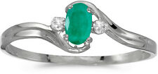 10k White Gold Oval Emerald And Diamond Ring (CM-RM1678W-05)