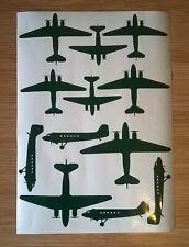 Dakota DC3 C47 Aircraft Silhouette Stickers mixed sizes A4 self adhesive vinyl