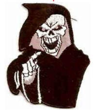 Iron On/ Sew On Embroidered Patch Badge Grim Reaper Reeper Death Black and Pink