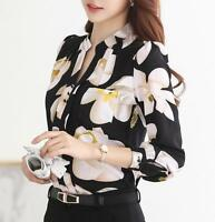Women Vintage Casual Long Sleeve V Neck Chiffon Floral Print Tops Blouse T-Shirt