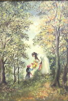 Gemälde Mädchen im Wald Signiert