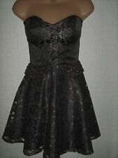 Elise Ryan Bandeau Satin & Lace Mini Dress - Jewel/Stone 1/2 Peplum Trim - UK 8