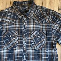 Casual Country Brown Black Plaid Western Button Up Pearl Snap Shirt Mens XL