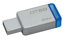 Kingston DataTraveler 50 64GB USB 3.0 Flash Stick Pen Memory Drive - Blue