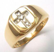 SYJEWELLERY 9CT YELLOW GOLD CROSS DIAMONDS MEN'S GENT'S RING   SIZE U    R1212