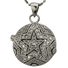 Gold Locket Necklace In 14k White Gold With A Star Necklace Design And Milgrain