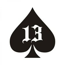 "3"" Black White Spade Number 13 Lucky Unlucky Ace Card Trump Vinyl Cool Sticker"
