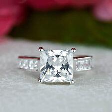 14K White Gold Certified 2.80Ct Princess Cut Diamond Engagement Beautiful Ring