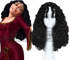 Tangled Mother Gothel Wig Black Finger Wave Princess Cosplay Wigs Synthetic Hair