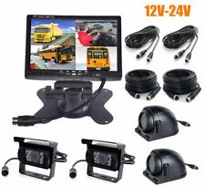 """7"""" HD Quad Split Monitor +4x Front Side Backup Rear View Camera For Bus Truck RV"""