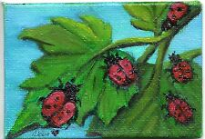 ACEO 2.5x3.5in Orig Art Canvas Oil painting Lady Bugs Insects Trees  Nova Hart