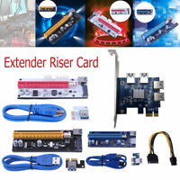 PCI-E 1X to 4 PCI Express/16X Power Extender Riser Card Adapter Mining Cable lot