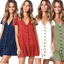 Womens Button Ruffle Mini Shift Dress Summer Ladies Smock Swing Dress Size 6-16
