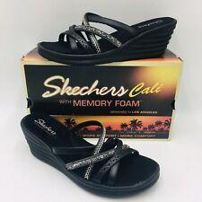 Skechers Rumbler Wave New Lassie Multi-Strap Wedge Sandal Size 10M Black