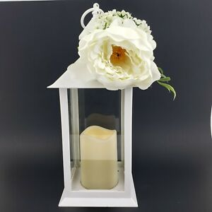 Martha Stewart Spring White Lantern w/ Artificial Flower Battery Op Candle New