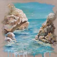 PAYSAGE MARITIME huile sur toile 50x50cm/oil on canvas