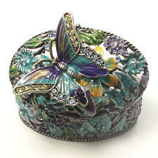 Bejeweled flower motif trinket box with butterfly on top, Faberge figurine