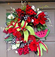 Handmade Summer Red Watermelon Deco Mesh Greenery Grapevine Wreath Door Decor
