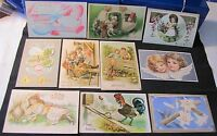 Lot of 10 Vintage Easter Postcards - Most early 1900s, Some Embossed