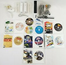 Nintendo Wii WHITE Console LOT/BUNDLE w/ 10 Games/Nunchuks/Controllers/Cables++