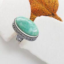 Amazonit grün green edel Design Ring Ø 18,0 mm Silber plattiert nostalgisch neu
