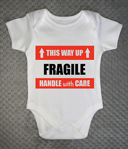 Fragile This Was Up BABY GROW clothing vest body suit baby shower gift 4 sizes
