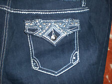 NWT NINE WEST crop Jeans Cotton Blend With Rhinestone Bling Pockets Size 10/30