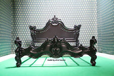 UK STOCK ~ Super King Size Matt Black Chatelet Stile Gotico letto francese Rococò