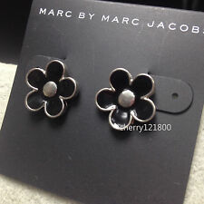 New Fashion Marc By Marc Jacobs Black Flower Silver Stud Earrings #E0412