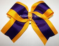 Purple Cheer Bow Yellow Gold Big Ribbon 6 Inch Volleyball Softball Cheerleader
