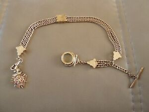 Heavy Vintage Gold Filled Watch Chain w/Compass Spinner & Knights of Pythias Fob