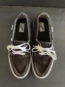 VANS Zapato Del Barco Men Size 11 Black Canvas Boat Shoes