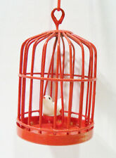 Bird Cage Dove White Bird Red Metal Doll House Fairy Garden Vintage Ornament