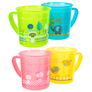Plastic Drinking Cups Kids Mugs Easy Grip Handle Colourful Print Baby Toddlers