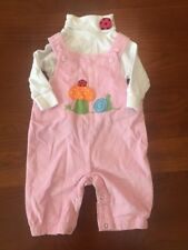 Luigi Kids Baby 6 Month 2 Piece Overalls And Turtleneck Pink Ladybug Snail