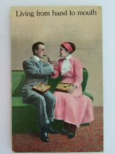 1911 Antique Postcard Living From Hand To Mouth Couple Feeding Each Other A2358