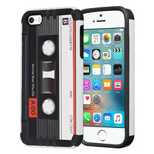 Hybrid Dual Layer Armor Case for iPhone SE / 5S / 5 - Cassette Tape